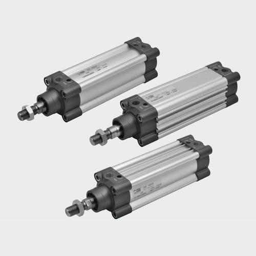 pneumatic cylinder / with piston rod / double-acting / single-acting