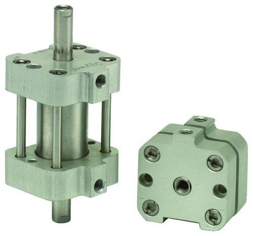 pneumatic cylinder / single-acting / block / stainless steel