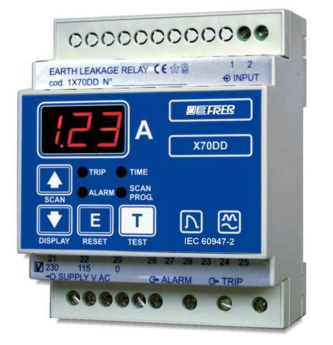 earth-leakage protection relay / panel-mount / DIN rail / digital